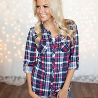 Fab In Flannel Top Navy/Coral