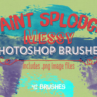 Paint Splodges Photoshop Brushes Clipart - 42 Messy Paint Splodges - Digital Stamps