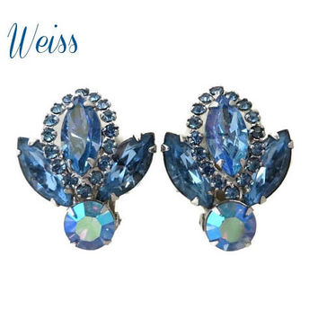 Weiss Blue Rhinestone Earrings - Vintage Silver Tone Clip-ons, Bridal Earrings, Gift for Her, Gift Boxed