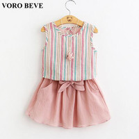 VORO BEVE Kids Girls Set 2017 Summer Clothes Baby Girls Clothes T Shirt & skirt Children Toddler Girl Clothing