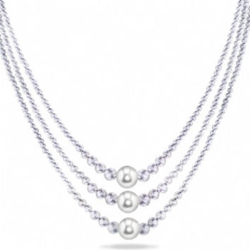 "Imperial Pearl: Triple-Strand 16"", 17"" and 18"" Freshwater Pearl and Brilliance Bead Necklace in Sterling Silver w/2"" extender"