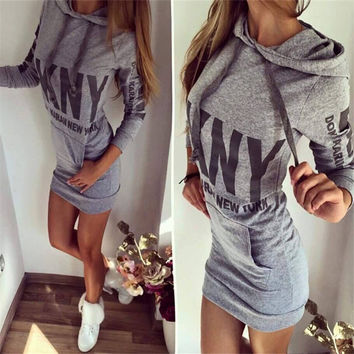Women Winter Long Hoodies Letter Printed Cotton Long Sleeve Hooded Sweatshirts Fashion Casual Autumn Sweatshirts