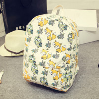 The New Cute Unique Womens Printing Fox Owl Canvas Bag Backpack