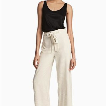 Pinstriped trousers - Natural white/Striped - Ladies   H&M GB