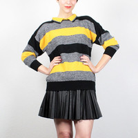 Vintage 80s Sweater Preppy Sweater Black Yellow Gray Striped Jumper 1980s Sweater Knit New Wave Pullover Collared Sweater S Small M Medium