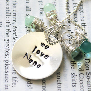 SALE-Personalized Valentine's Gift, Mother's Day, New Grandmother, Mother In Law Gift, Hand Stamped, Sterling Silver Birthstone Necklace