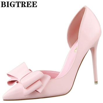 BIGTREE Elegant D'Orsay High Heel Shoes Slip On Party Shoes 10.5CM Thin Heels With Bow