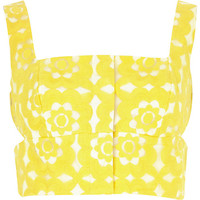 River Island Womens Yellow floral embroidered cut out bralet
