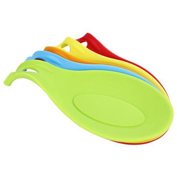 New Arrival Silicone Heat Resistant Spoon Fork Mat Rest Utensil Spatula Holder Kitchen Tool 6RVJ