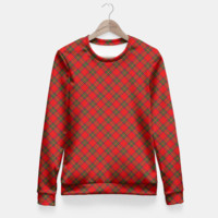 Red Tartan Plaid Pattern Fitted Waist Sweater, Live Heroes