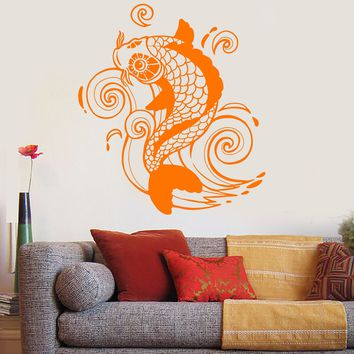Vinyl Wall Decal Koi Carp Fish Wave Asian Japanese Art Stickers Unique Gift (ig4873)