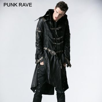 PUNK RAVE Unique Fashionable Punk Rock Heavy PU Leather Parka Trench with Skull Decoration Winter Gothic Cross Coats Jackets