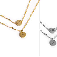 Customized Circle Necklace / Initial Tag Necklace / Personalised Jewelry / Customized Disk / ID / Layering Minimal Jewellery / 8mm / N109