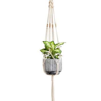 Mkono Macrame Plant Hanger Hanging Planter With Beads 42 Inch