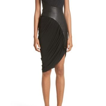 Alexander Wang Leather Detail Draped One-Shoulder Dress | Nordstrom