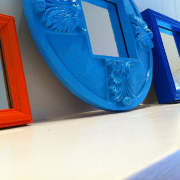 Bright and Chic Mirror Set Upcycled Home Decor Funky by FeFiFoFun