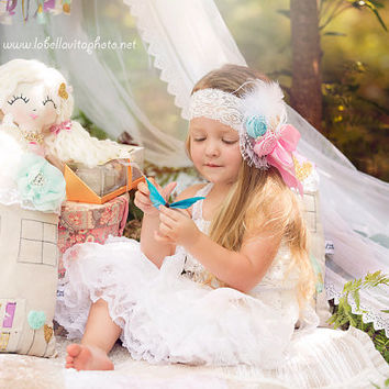Feather Headband Baby Girl Headband Pastel Headband Birthday Headband Girls Headband Shabby Chic Headband Photography Prop Flower Girl