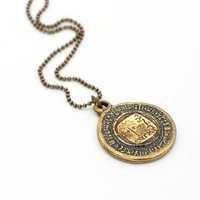 Tree Pendant, Antique Gold Coin Necklace, Long Metal Necklace