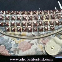 Floral Faux Leather Silver Studded Clutch Bag by xxSweetStudxx