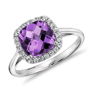 Purple Amethyst and Diamonds Halo Cushion Ring in 14K White/Yellow/Rose Gold Engagement Wedding Gift