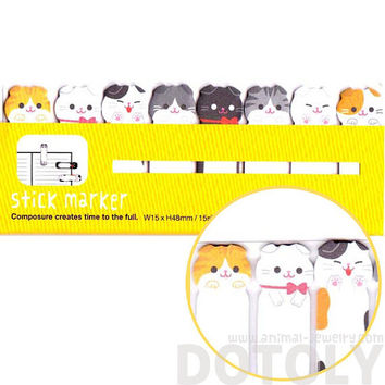 Adorable Kawaii Kitty Tabby Cat Shaped Memo Pad Post-it Index Sticky Tab Bookmarks | Cute Animal Themed Affordable Stationery