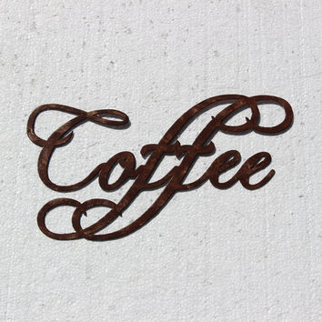 Coffee Word Fancy Script Antique Copper Paint Metal Wall Sign