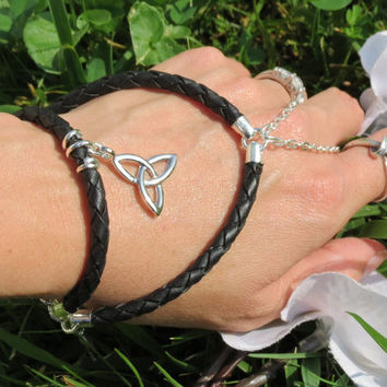 Slave Bracelet, Leather, Celtic Knot, Custom, Black, Braided Leather, Genuine Leather, Trinity Knot, Celtic, Trinity