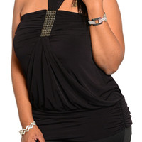 Black Plus Size Sexy Halter Studded Strapless Cinched Club Top