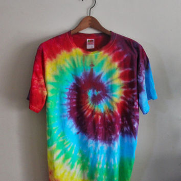 Tie Dye Shirt - Vibrant - Rainbow Spiral - Customizable Colors and Sizes - 100% Cotton