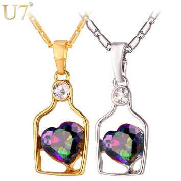 U7 Heart Message Bottle Charm Necklace Romantic Poetic Gold/Silver Color CZ Crystal Pendant & Chain Women 2017 Jewelry P1052