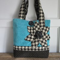 Turquoise Womens tote bag, Black handbag, Houndstooth tote, Turquoise fabric bag, Womens handbags, Applique purse, Shoulder bag, fabric tote