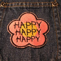 Happy, Happy, Happy Pink & Yellow Flower Patch - Embroidered Happiness Sew-On or Iron-On Patch - Pink Happy Patch
