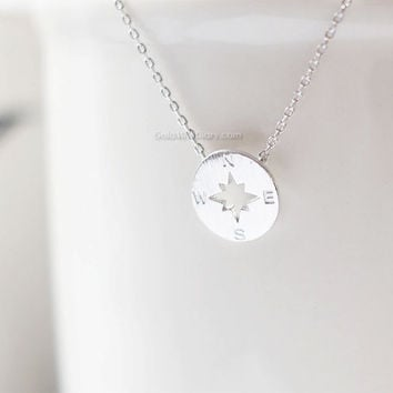 Silver Tiny compass necklace, Silver circle disk necklace, compass necklace, bridesmaid gifts, gift ideas, wedding gifts