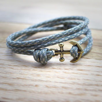 Mens Anchor Bracelet Paracord Nautical Bracelet in Gray