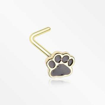 Golden Adorable Paw Print L-Shaped Nose Ring
