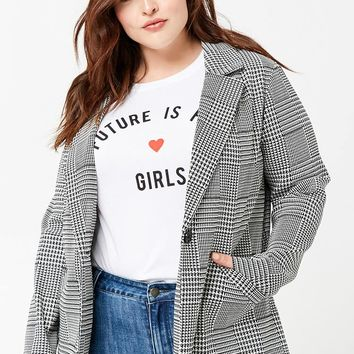 Plus Size Single-Breasted Houndstooth Blazer