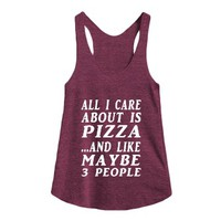 all about pizza racerback-Female Tri Cranberry Tank