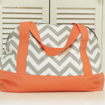 Weekender in Storm Gray/White Chevron with Coral Straps and Bottom - Diaper Bag - Carryon - Travel Bag