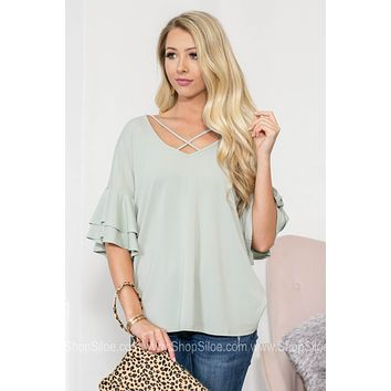 Tiered Flutter Criss Cross Top
