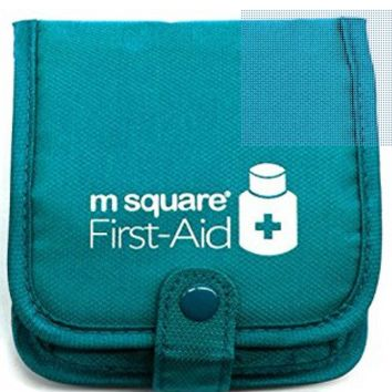 PuTwo Pill Box Wallet Design Case Square Pill Organiser Storage Box with Multi-pockets Bag Travel - Blue
