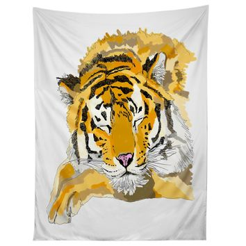 Casey Rogers Sleepy Tiger Tapestry