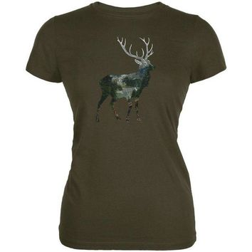 CUPUPWL Deer Forest Nature Hiking Hunting Juniors Soft T Shirt