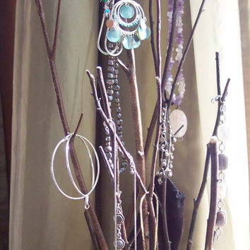 birch tree jewelry stand with earring holder