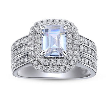 2.4 Ct Radiant White Cz 925 Sterling Silver Wedding Engagement Ring