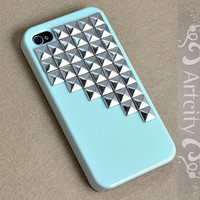 Studded Iphone Case Silver pyramid studs Light Green IPHONE 4/4S Case----for Apple iPhone 4 Case, iPhone 4s Case, iPhone 4 Hard Case