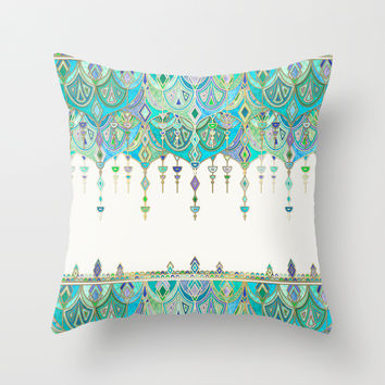 Art Deco Double Drop in Jade and Aquamarine on Cream Throw Pillow by Micklyn | Society6