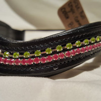 Bling English curved Full Size Browband Spring Green and Pink Rhinestone