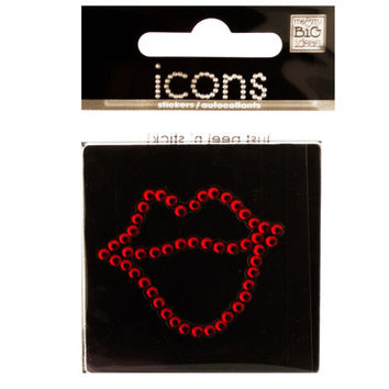 Bling Rhinestone Lips Icon Sticker: Case of 24