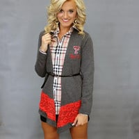 Texas Tech Raiders Women's NCAA Laser Trim Color Block Cardigan