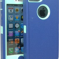 BeautyChase(TM) Iphone5/5S Defender Body Armor Case Comparable to Otterbox Defender Series (navy/light blue)